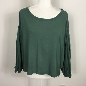 Free People | We The Free Green Puffy Sleeve Top